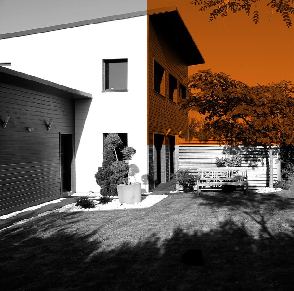 Une maison contemporaine avec une isolation par l'exterieur